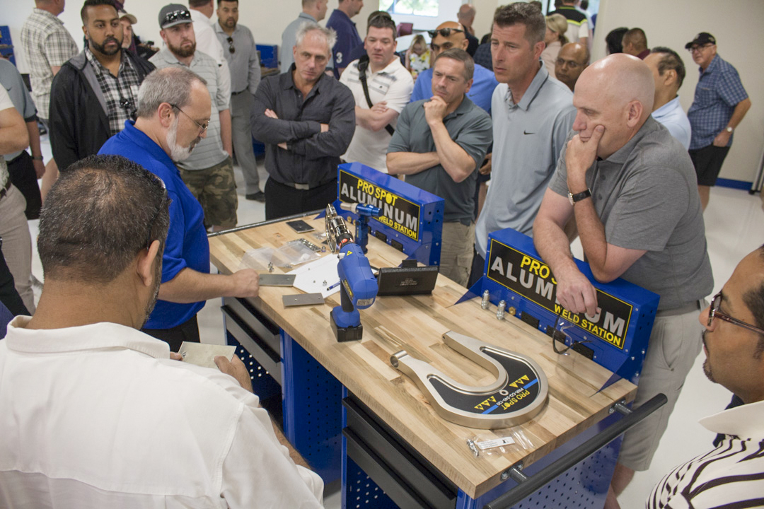 Pro SpotMay17 Demonstrating the PR 5 Rivet Gun system with special dies and extension