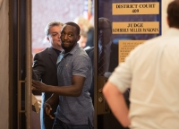 "Boxer Terence ""Bud"" Crawford leaves court in June after his attorney presented reasons that Crawford's sentence in a 2016 incident wasn't appropriate."