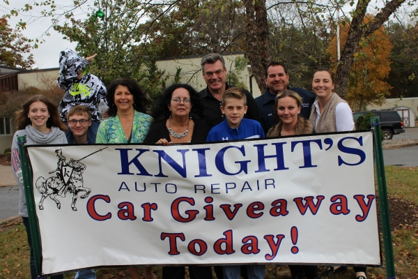 Mary Marx, 2016 Wheels to Prosper Car Recipient, and her family, along with Nancy and Peyton Knight, owners of Knight's Automotive Repair in Ledgewood, NJ.