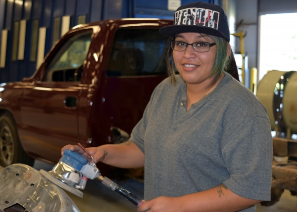 Victoria Ramirez, collision repair student at Texas State Technical College.