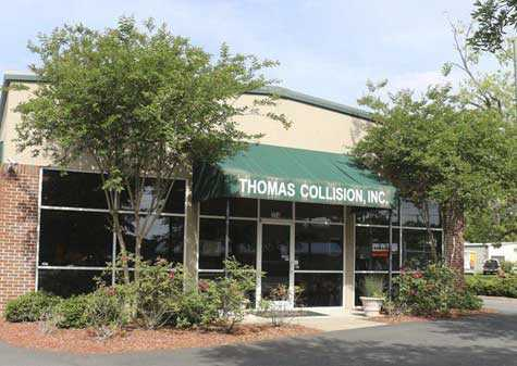Thomas Collision Center has begun construction on a new location and plans to be fully moved out of its current building by Sept. 15.