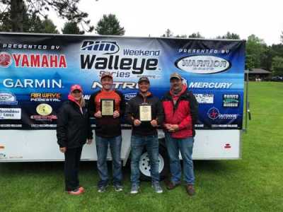 Dylan Maki and his fishing partner, Joe Bricko, finished third in the 2018 AIM National Championship Shootout on June 1--2 on Chippewa Flowage, WI. Here, the pair poses with Dylan's parents, Kelly (far left) and Brian (far right).