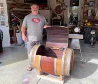 Frank Quadrato's wine furniture gets rave reviews and sells quickly.