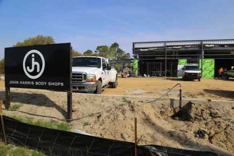 Construction crews work at the new John Harris Body Shops' site, 2945 Broad St. in Sumter, SC. The new 20,000-square-foot facility is expected to open in July.