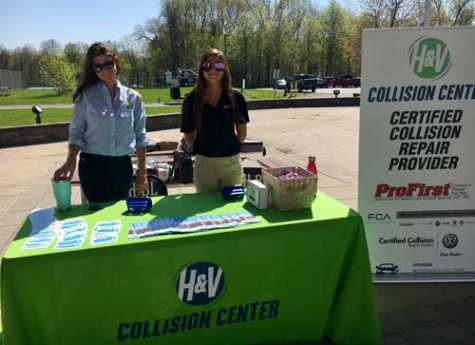 H&V Collision Center marketing representatives Brittany Horton and Daphne Braun spent the day at a local high school to teach students about the dangers of distracted driving.