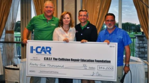 The Philadelphia-area I-CAR committee raised over $46,000 at its second annual golf outing in June to support collision repair school programs in its market through the Collision Repair Education Foundation. (L-R) Clark Plucinski, executive director of the Collision Repair Education Foundation, receives the big check from Lisa Ferguson, ABRA Auto Body & Glass; Joe James, Bill Flannery Automotive and Pennsylvania Chair for I-CAR; and Mike LeVasseur, ABRA Auto Body & Glass.