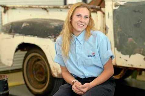 Las Plumas High School senior Anna Miller talks about her award-winning auto body skills May 2 at the school.
