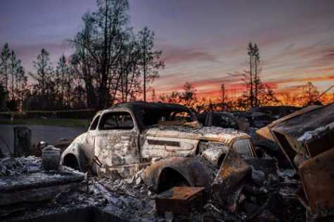 Haunting Images of Cars Caught in the CA Wildfires
