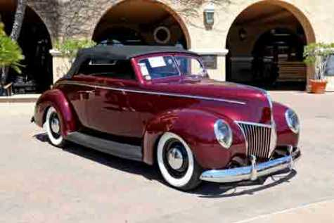 "1940 Ford Convertible by Gooslby Customs, winner of the 2018 Goodguys Street Rod d'Elegance award, painted in the BASF Color Ideation exclusive Glasurit 55 Line color, ""Glasurit Cabernet, Goolsby Edition."""