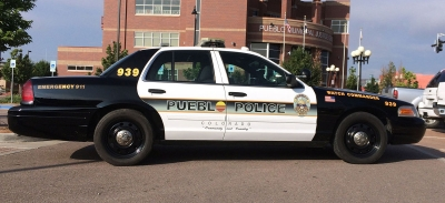 COURTESY PHOTOS Several businesses around town have donated time and manpower to repaint and rehabilitate a dozen Pueblo Police Department cruisers. Unit 939 is shown after its makeover.
