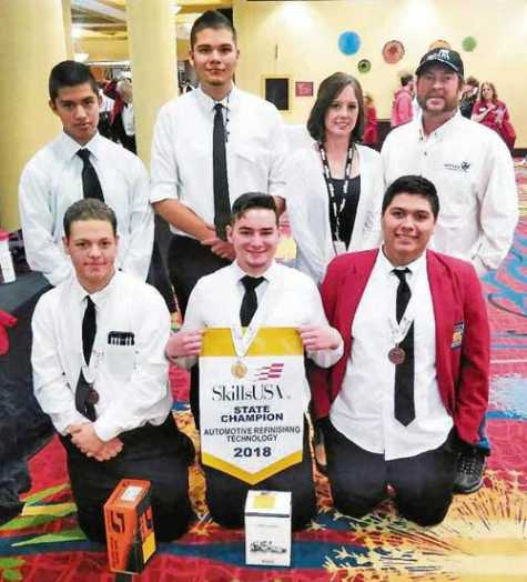 MCC students competed at the 2018 state SkillsUSA Conference in Colorado Springs. Back row: Alfonso Martinez, Anthony Chavez, Sheryl Hass and Tim Grauberger. Front row: Medalists Hunter Evans, Walker Graff and Jaime Ramos.