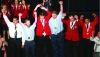 Joel Hartstack, pictured fourth from left with left fist raised, celebrates with other national SkillsUSA winners at the National SkillsUSA Championships held June 18-23 in Louisville, Kentucky. Hartstack won the national championship in collision repair technology. (Contributed Photo)