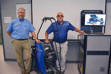 Mickey Tyson from Carolina Collision Equipment, left, and Bucky Douthit from NAPA Auto Parts stand with the welding tools they demonstrated to Richmond Community College students in the Welding Technology program.