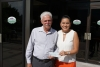 AASP/NJ President Jeff McDowell presents a $1,000 donation to MSK's Natalia Montoya on behalf of the association.
