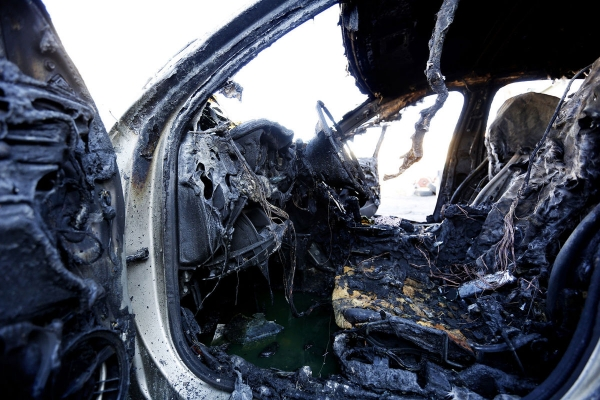 These charred remains are all that's left of the interior of a Chevy Malibu after a suspicious fire at Schausten's Auto Body & Paint in Grand Junction, CO. The fire is under investigation.