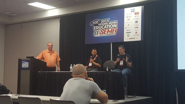 From L-R: Jim Saeli of Management Success, Kareem Abouzeid of Knockout Collision Repair and Dino Di Giulio of Body Best Collision Center led a presentation on Sales Training for Estimators on the last day of the 2017 SEMA Show.