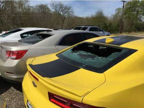 Windows were broken in vehicle during the hail storm March 18 at Caldwell County Chevrolet.