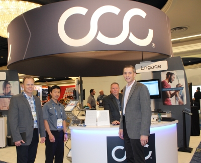 (L to R) Mark Fincher, Jacob Ku, Brian Sinnett and Paul Schwandt at the CCC booth during the SEMA show held in Las Vegas, NV.