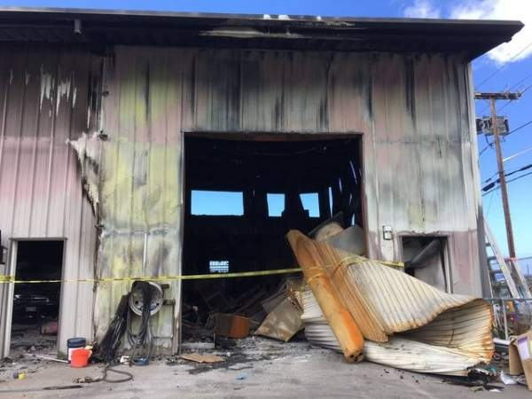 A warehouse that housed Diamond Auto Workz in the New Industrial Kohanaiki Park was damaged during a fire on Sept. 11.