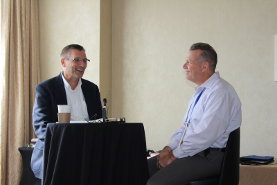 "When Mike Davidson (left) presents ""Hiring for Keeps,"" he performs a live interview at the end of the seminar that demonstrates what you learn. During the presentation for AkzoNobel, he demonstrated a mock interview with Drew Holdren (right), Services Consultant Acoat Selected Services for AkzoNobel."