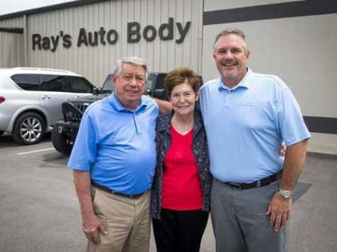 Ray Shelton, left, and his wife, Louise Shelton, center, recently sold Ray's Auto Body, their body shop of 47 years, to James Bond, right.