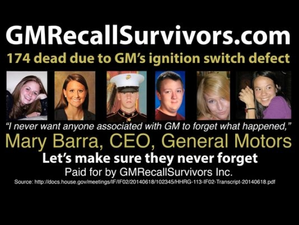 The billboard shows pictures of six young people who died in crashes. (Photo: GM Recall Survivors)