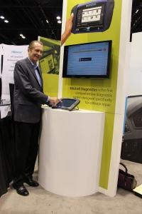 Jack Rozint, vice president of sales and service at Mitchell International, demonstrates the Mitchell Diagnostics system during NACE Automechanika 2017 in Chicago, IL.