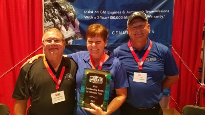 "Hiester Automotive was voted ""Most Outstanding Booth"" by attendees. (Pictured: Gary Summerfield of IGONC, Wanda Hinnant  & Steve Jones of Heister Automotive)."