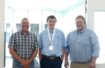 Dylan Ahmdt (center), winner of the SkillsUSA competition in June, with his instructors Joe Wambeke (L) and Jim Wallace (R).