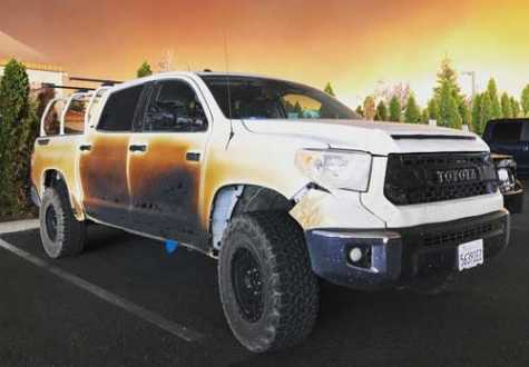 Toyota will replace this burned Toyota Tundra as a thank you to a brave nurse in California.