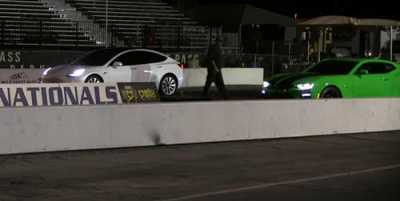 On the Lighter Side: VIDEO: Tesla Model 3 Battles Chevy Camaro SS and Classic Ford Mustang in Drag Race