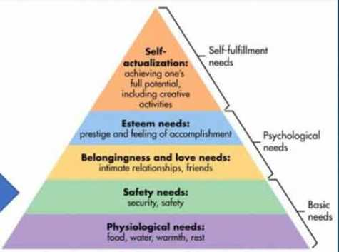 Maslow's Hierarchy is a psychological theory identifying the five basic needs of humans: physiological, safety, belonging/love, esteem and self-actualization.
