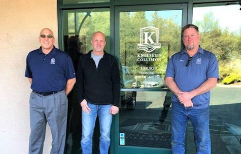 Manager Tom Jeung, left, co-owner Tom Kniesel, center, and account manager Chad Tomlinson, right, stand in front of Kniesel's Collision in Auburn, which recently acquired Jake Tomlinson and Company auto repair.
