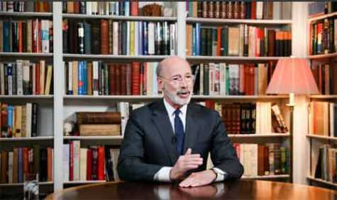 Pennsylvania Gov. Tom Wolf addresses COVID-19 mitigation strategies from his home office in March 2020.