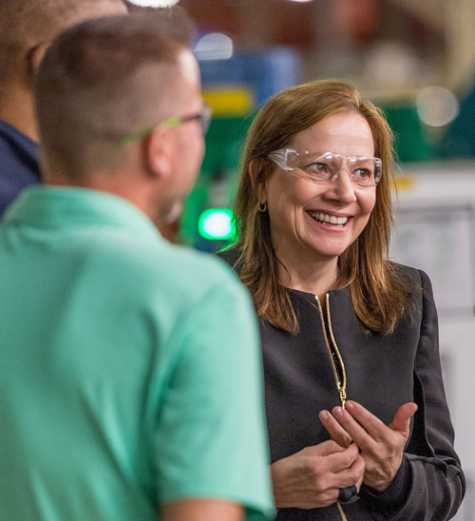 General Motors Chairman and CEO Mary Barra meets with plant employees at the GM Fort Wayne Assembly plant Thursday, May 30, 2019 before announcing the company is investing $24 million in the plant to expand production of full size Chevrolet Silverado 1500 and GMC Sierra 1500 pickups in Roanoke, IN.