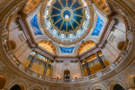 Inner dome from the rotunda floor of the Minnesota State Capitol.