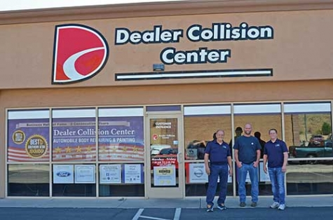 Dealer Collision Center is run by Collision Shop Director Jesse Thompson, left, and managers Tyler Wade and Scott Thompson. They spray PPG's Envirobase High Performance waterborne for outstanding results month after month.