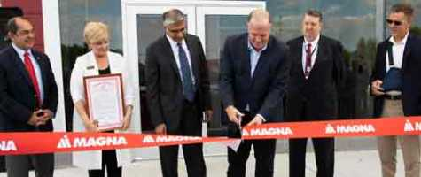 Magna officially opens its new electronics facility in Grand Blanc Township, MI.