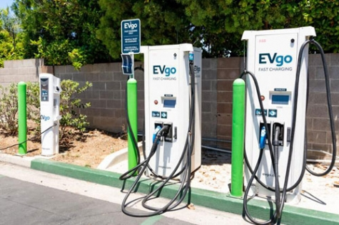 EVgo charging station located in a parking lot in South San Francisco Bay Area.
