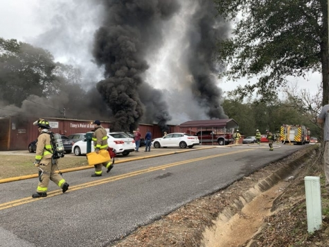 Multiple fire departments responded to the blaze.