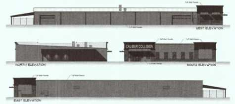 A site plan for Caliber Collision shows a rendering for the outside of the building, at 317 Bypass Road.