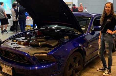 Michelle Perschall brings her navy-blue Mustang to car enthusiast meet ups and shows.