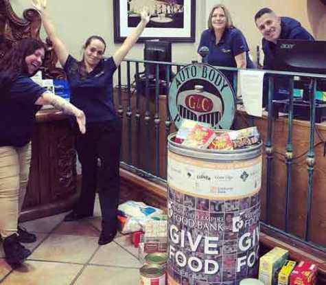 Since 2014, G & C has donated 274 barrels of food to local food banks, as well as donating $100 for every barrel filled by their employees and guests.