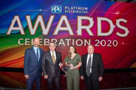 Colours, Inc., is the recipient of PPG's automotive refinish 2019 Platinum Distributor of the Year award. Receiving the award on behalf of Colours are, left to right, Bill Snipas, vice president of operations; Tim Evans, president; Ali Mahalak, chief financial officer; and Brian Marcks, vice president of sales.