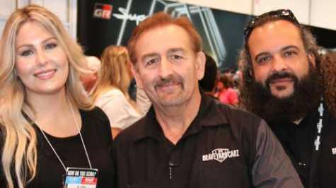 L to R: Allysa Rose, Mark Worman and Will Scott of Graveyard Carz were signing and posing for photos at this year's PPG booth at SEMA 2019.