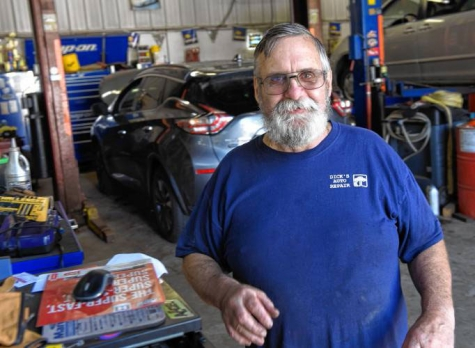 Richard Noel, owner of Dick's Auto Repair in Orange, MA. The shop is closing on Sept. 25.