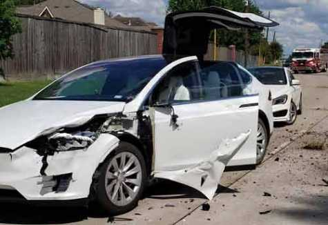 A Tesla Model X protects its passengers after getting hit by a crashing airplane.