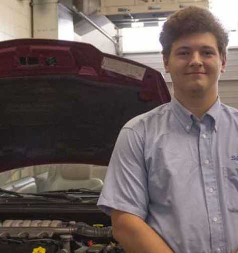 Austin Ledbetter, 17, was recognized nationally this summer in collision repair at a SkillsUSA contest.