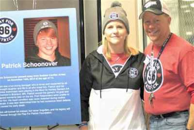 Mike and Gayle Schoonover's son, Patrick, collapsed and died while playing hockey in 2014. His family created the Patrick Schoonover Heart Foundation to sponsor youth heart screens.