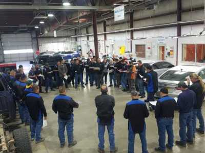 Employees at Car Crafters' main location in Albuquerque, New Mexico.